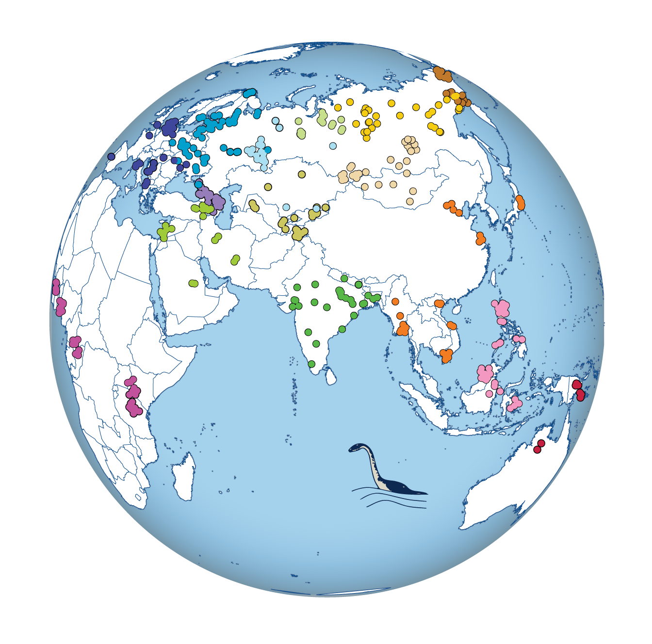 Geographic distribution of sequenced human genomes. Colors indicate geographic origins, and symbols refer to different sample subsets.