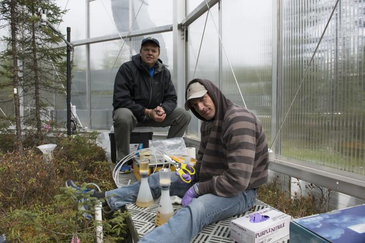 Joel Kostka (left) and postdoctoral assistant Max Kolton at the SPRUCE research facility in Minnesota.