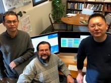 (From left) Hongyi Zhou, Jeffrey Skolnick, and Mu Gao (Courtesy of Jeff Skolnick)