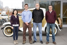 Explorers of multicellularity: (from left) Kimberly Chen, Will Ratcliff, Frank Rosenzweig, and Matt Herron (Credit: Jennifer Pentz)