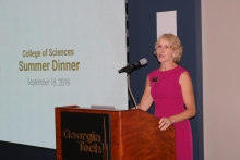 Dean Susan Lozier welcomed guests to the 2019 summer dinner. (Photo by Renay San Miguel)