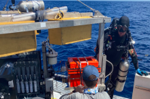 "Divers preparing the autonomous benthic lander vehicle developed by Georgia Tech's Martial Taillefert during exploration of the Gulf of Mexico's ""blue holes."" (Photo Florida Atlantic University)"